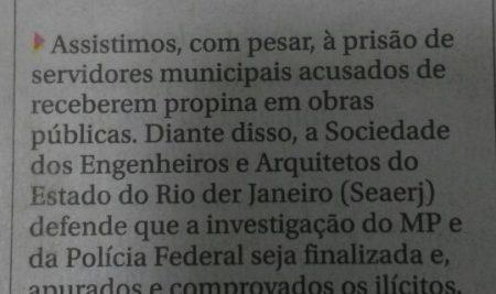 Manifesto do presidente da SEAERJ em O Globo