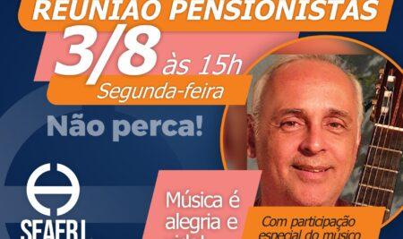 Reunião de pensionistas terá participação do músico Sérgio Dumont