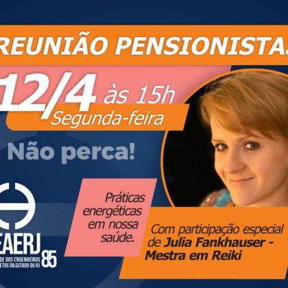 Reunião de pensionistas acontece na próxima segunda-feira (12/04), com participação especial de Julia Fankhauser