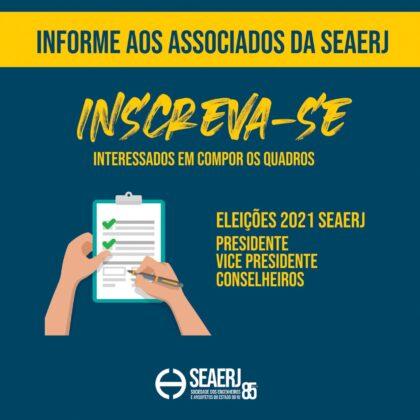 Inscreva-se para as Eleições SEAERJ Biênio 2021-2023