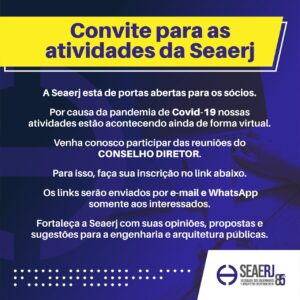 Inscreva-se para para participar das Reuniões do Conselho Diretor da SEAERJ